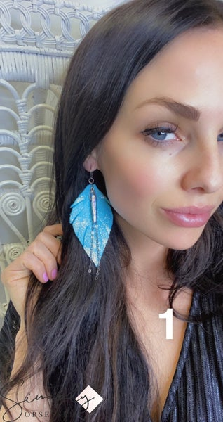 Emerge Large Feather Earring with Stone and Chain