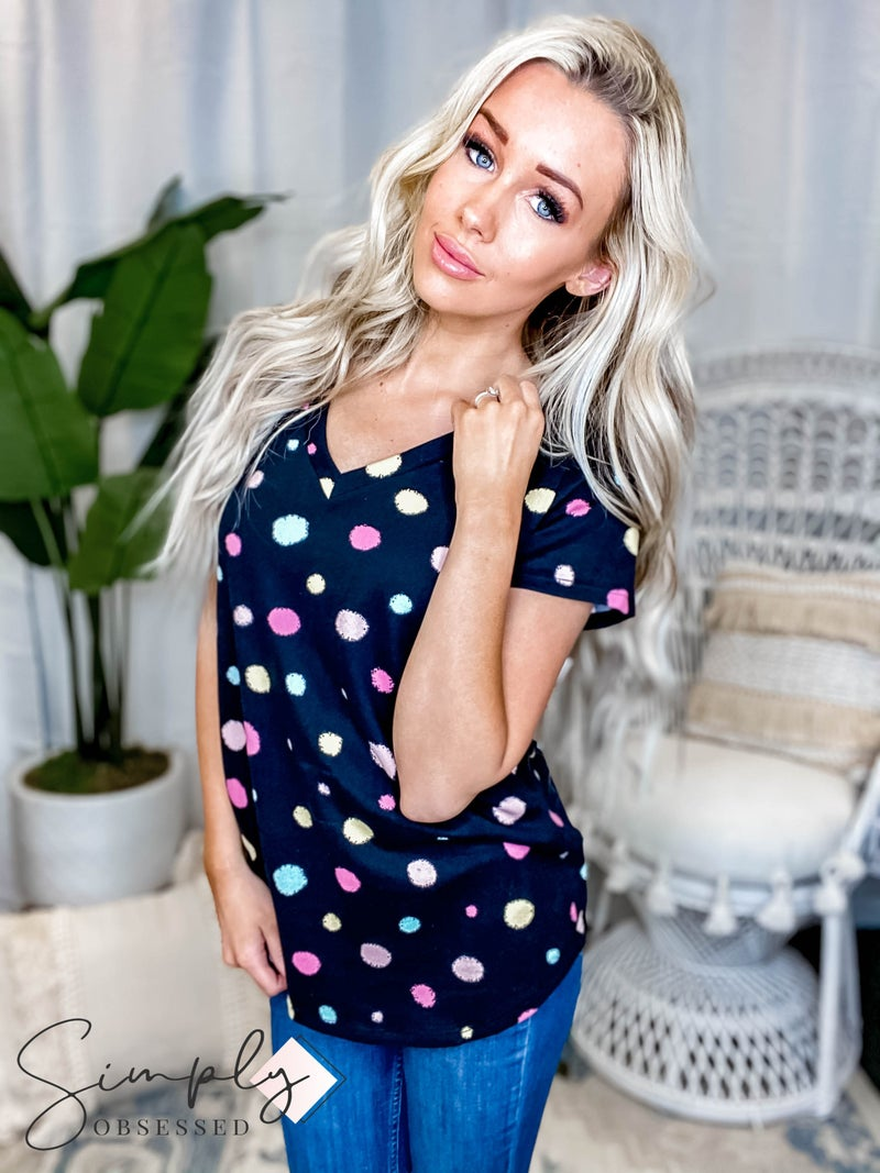 Vanilla Bay - Colorful polka dot print knit top with v neck short sleeve round hem top