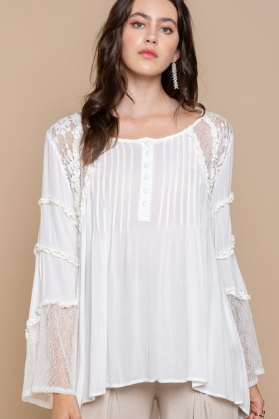 Pol - Long sleeve lace detail round neck top