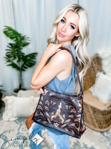 Leaders In Leather - Leather Cut Out Hobo Shoulder Handmade Bag