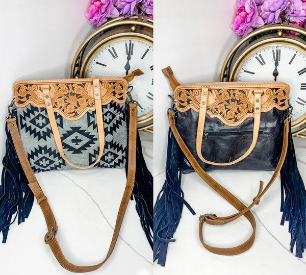 American Darling - Leather work aztec design tassel detail bag