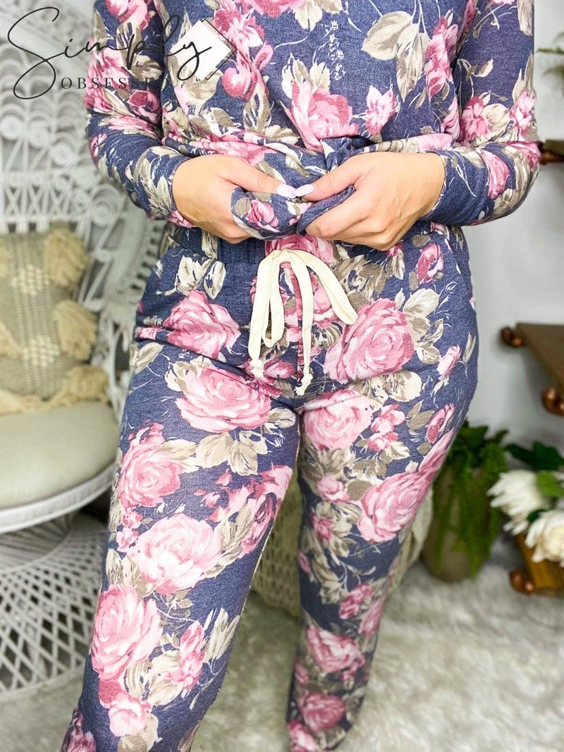 Honey Me - Floral elastic waist lounge wear pants (all sizes)