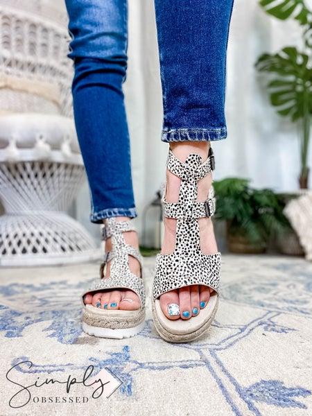 Very G - Soft Animal Print Leather Platform Sandal with Twine Detail
