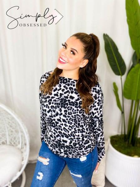White Birch - Long sleeve Cheetah Print Knit Top