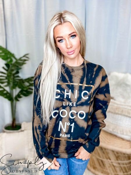 Alphia - Chic Like Coco Bleached Graphic Sweatshirt