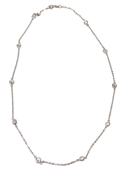 "18"" Siver chain necklace with CZ Stones"