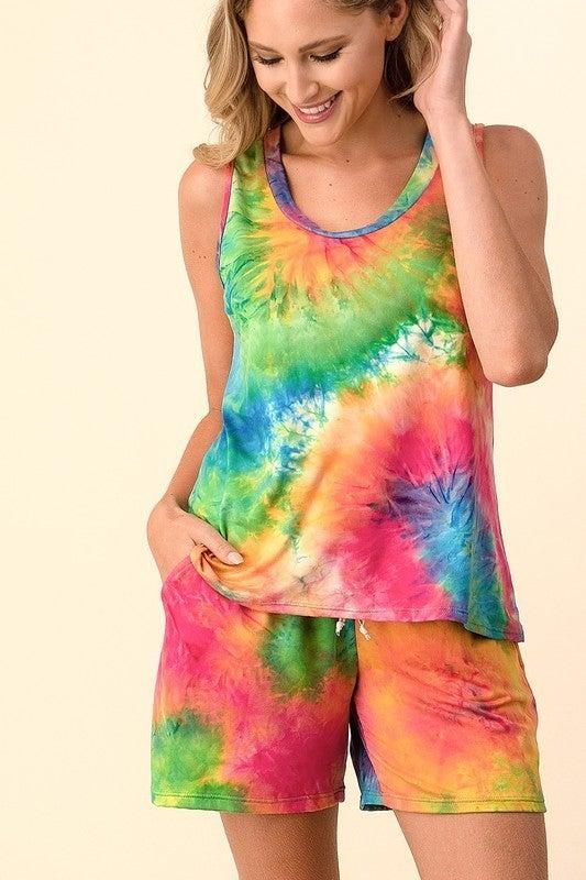 Orlando Blumin Pre-Sale - Tie dye print sleeveless top and drawstring shorts set(All Sizes)