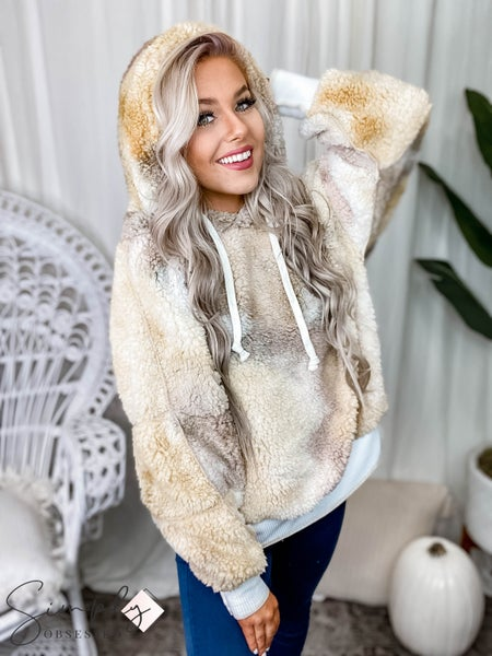 Peach Love California - Tie dye bubble sleeve fuzzy hooded sweater