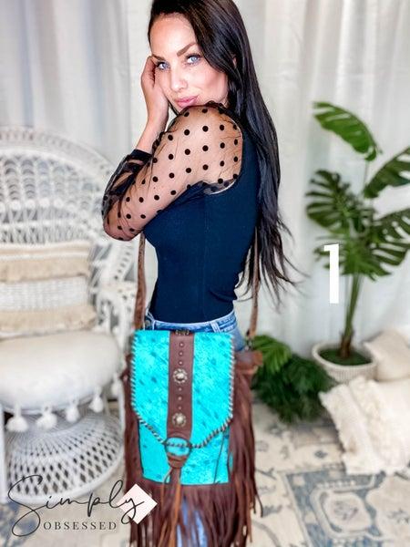 American Darling - Turquoise Hair On Hide Crossbody Bag
