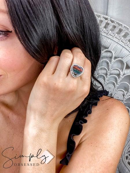 M&S Sterling Silver - Medium Rainbow Calsilica Heart Ring