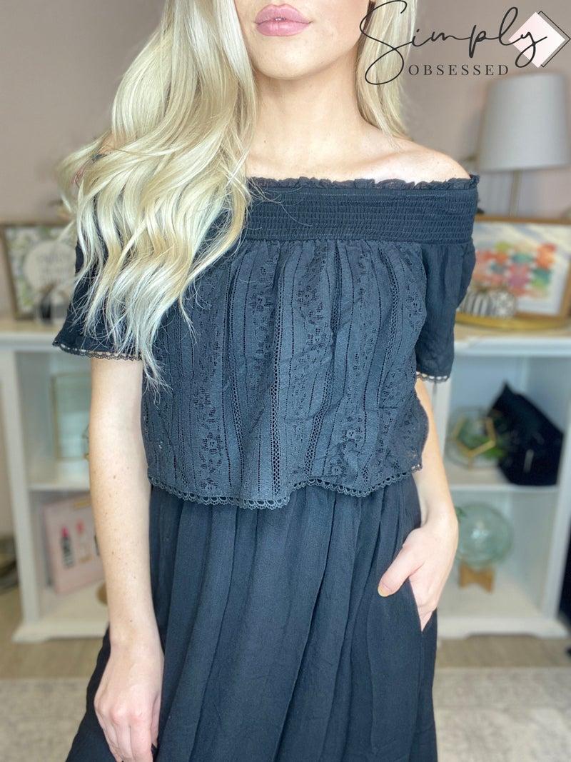 Doe & Rae - Smocked off shoulder dress with lace front detail