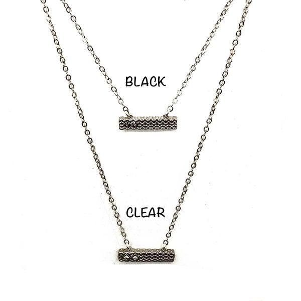 Thick Detailed Rhodium Necklace + Swarovski Crystals