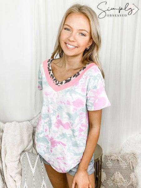 HONEYME-Tie Dye V-Neck With Leopard Print