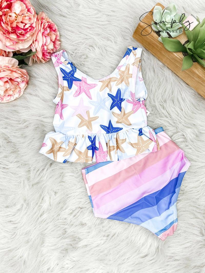 Honeydew-kids starfish rainbow swim suit