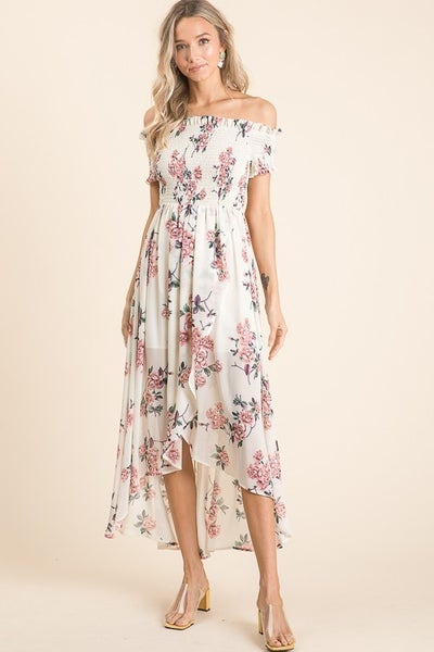 Vanilla Bay - Floral chiffon midi dress featuring smocking detailed tube top with short sleeves