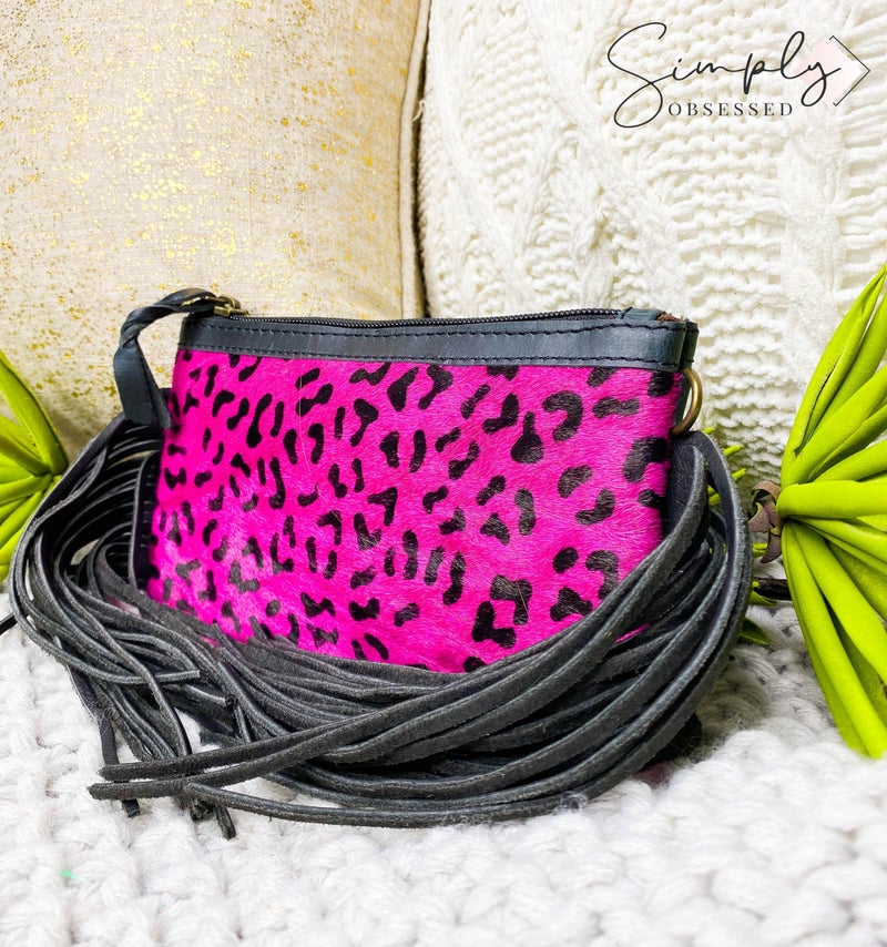 American Darling - Cheetah print tassel detail small cross body bag