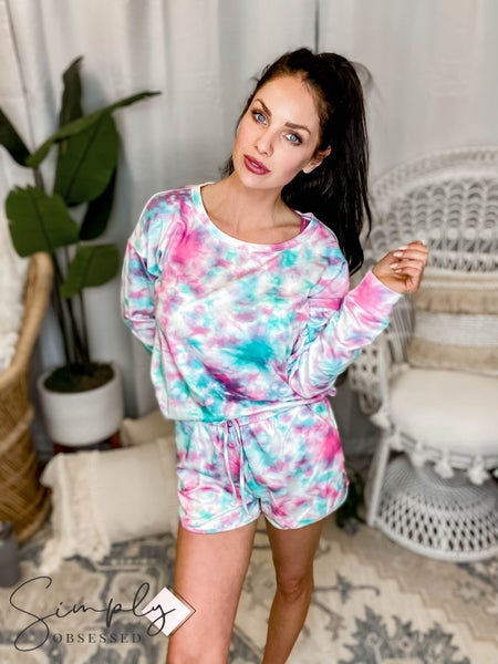 Blue B - Tie dye long sleeve loungewear set