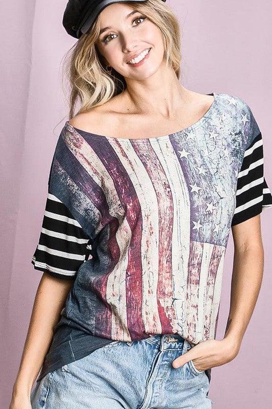 Bibi - Vintage American flag print top with stripe sleeves