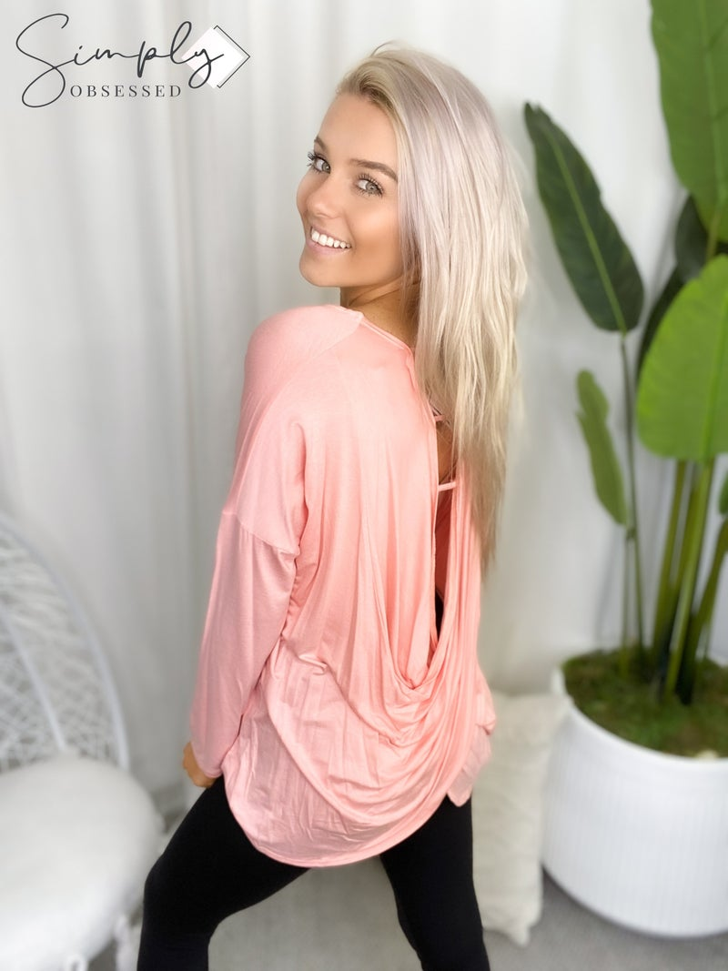 7th Ray - Long sleeve crossed open back top