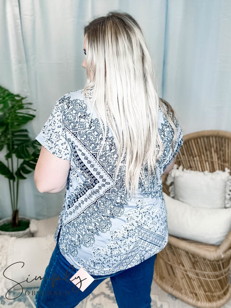 Sew in Love - Bandana Print Top with Cut Out Neck