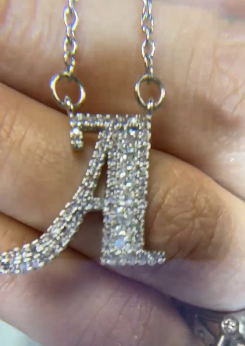 NYJ - Pave Rhinestone Border Initial Necklace
