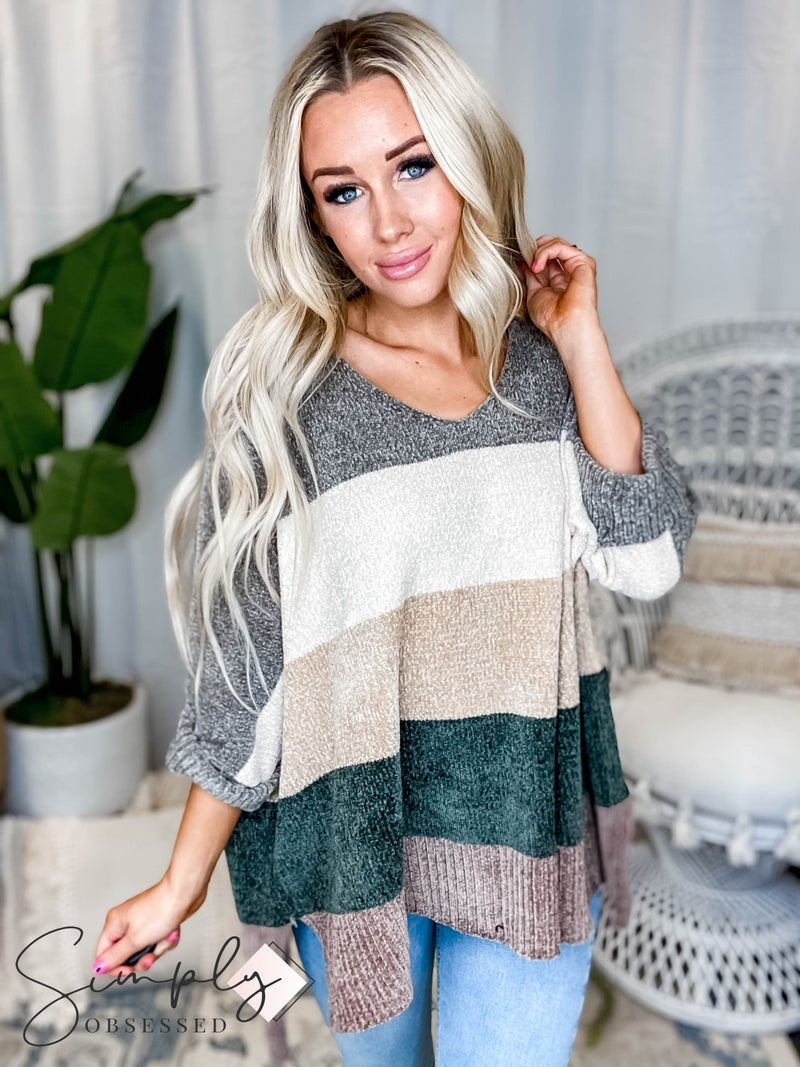 Davi & Dani - Multi Stripe Color Block Loose fit Boyfriend Sweater Top (All Sizes)