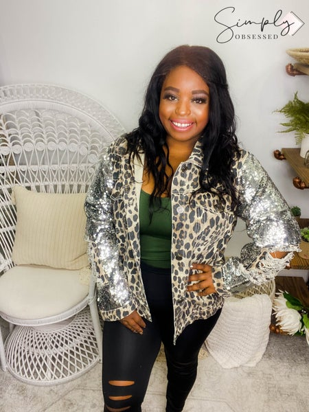 Macaron - Leopard print sequin buttoned collared jacket