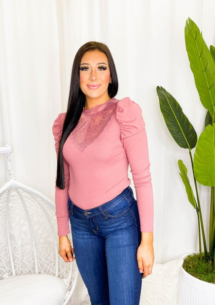 MAIN STRIP-Lace Trim Mock Neck Long Shirring Sleeve Back Button Up