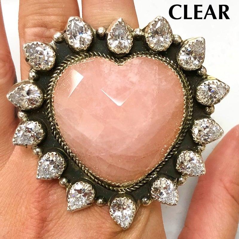 M&S Sterling Silver - Rose Quartz Heart Ring w/Swarovski