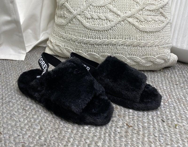Forever - Casual slingback fur winter sandals