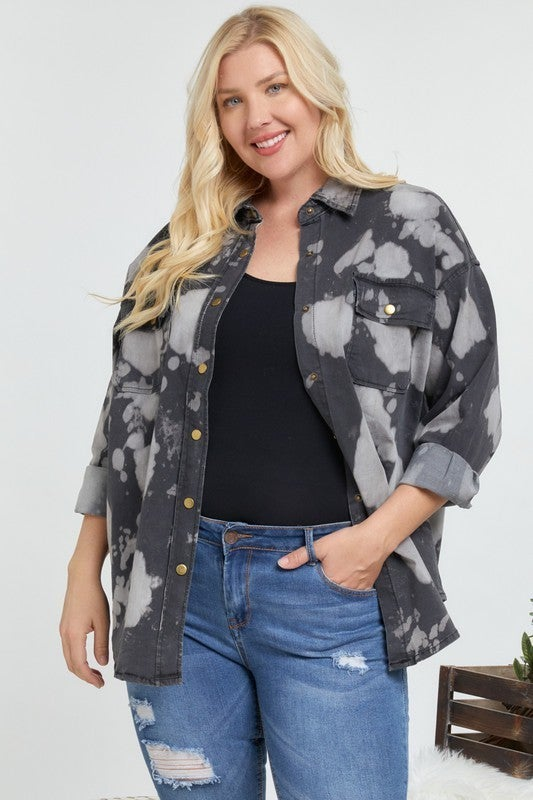 Davi & Dani - Natural Tie Dyed Silhouette Jacket(All Sizes)