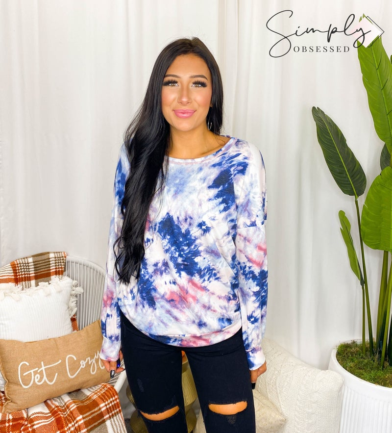 Vanilla Bay - Long Puff Sleeve Tie Dye Knit Top & Short SET