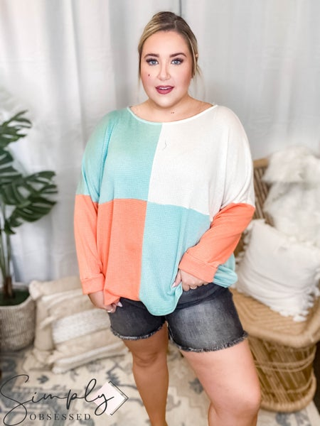 143 Story - Solid Color Block Boat Neck Top