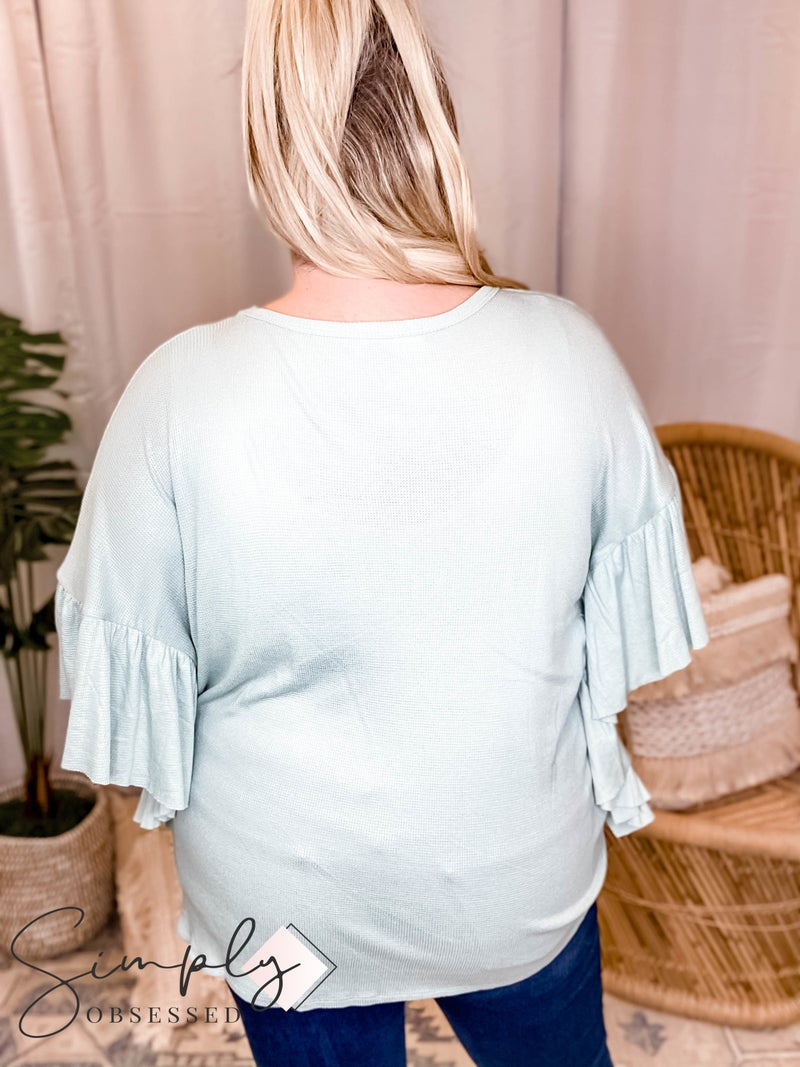 GeeGee - Ruffled sleeve detail round neck top