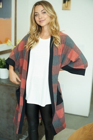 White Birch - Short Sleeve Buffalo Plaid Knit Cardigan