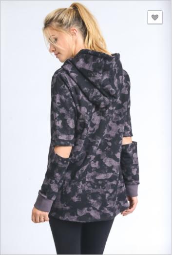 Mono B - Elbow cutout camo hoodie