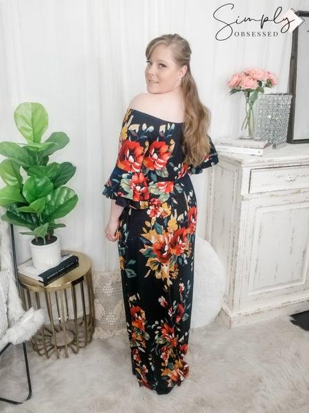 SWEET LOVELY-Floral Off Shoulder Maxi Dress