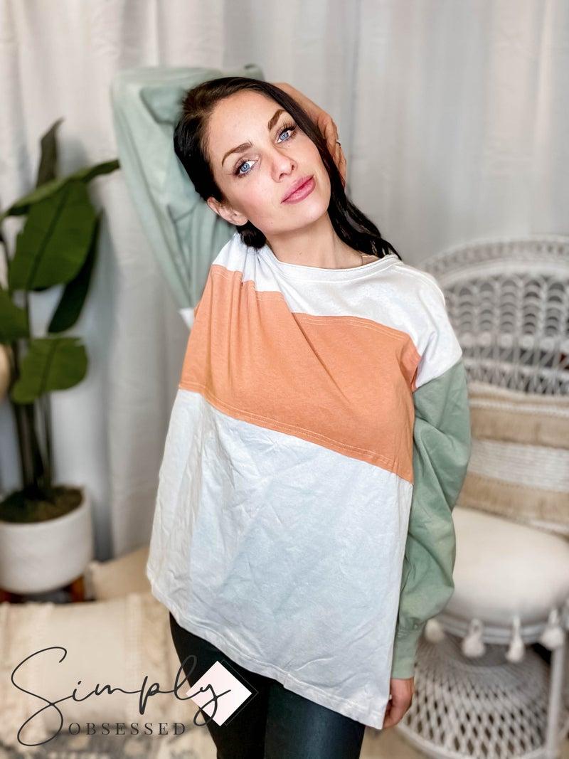 Easel - Color block cotton jersey