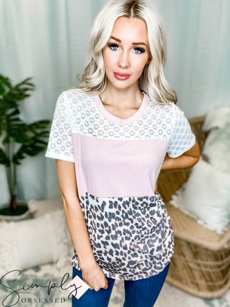 Vanilla Bay - Short sleeve colorblock leopard print lace detail knit top(All Sizes)