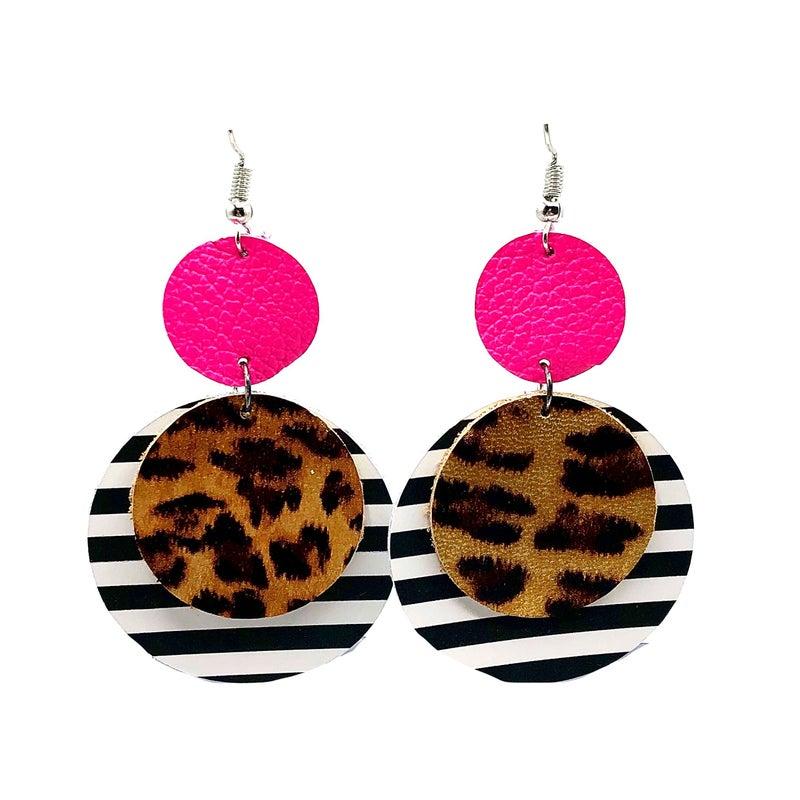 Neon Pink Leopard Stripe Leather Earrings