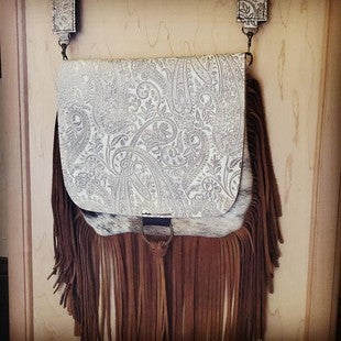 JEWELRY JUNKIE-HAIR ON HIDE WITH OYSTER PAISLEY FLAP CROSSBODY HANDBAG