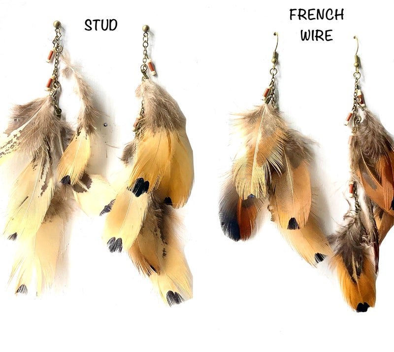 JJ - Layered Dangle Feather Earrings