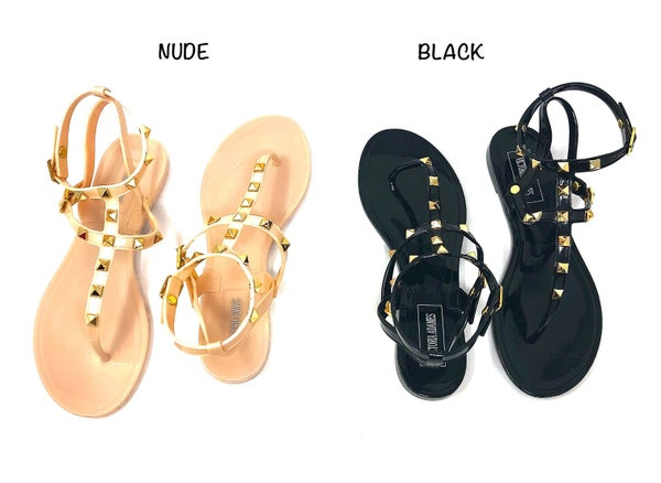 Victoria Adames - Jelly Sandals with spike detail