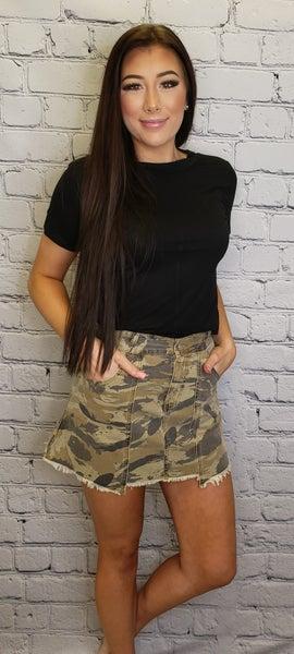 Pol - Camo print zipper down skirt