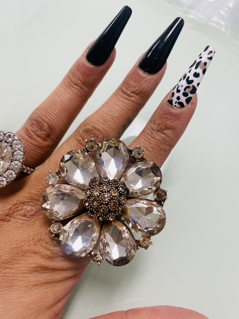 Vintage Flower Crystal Large Ring adjustable