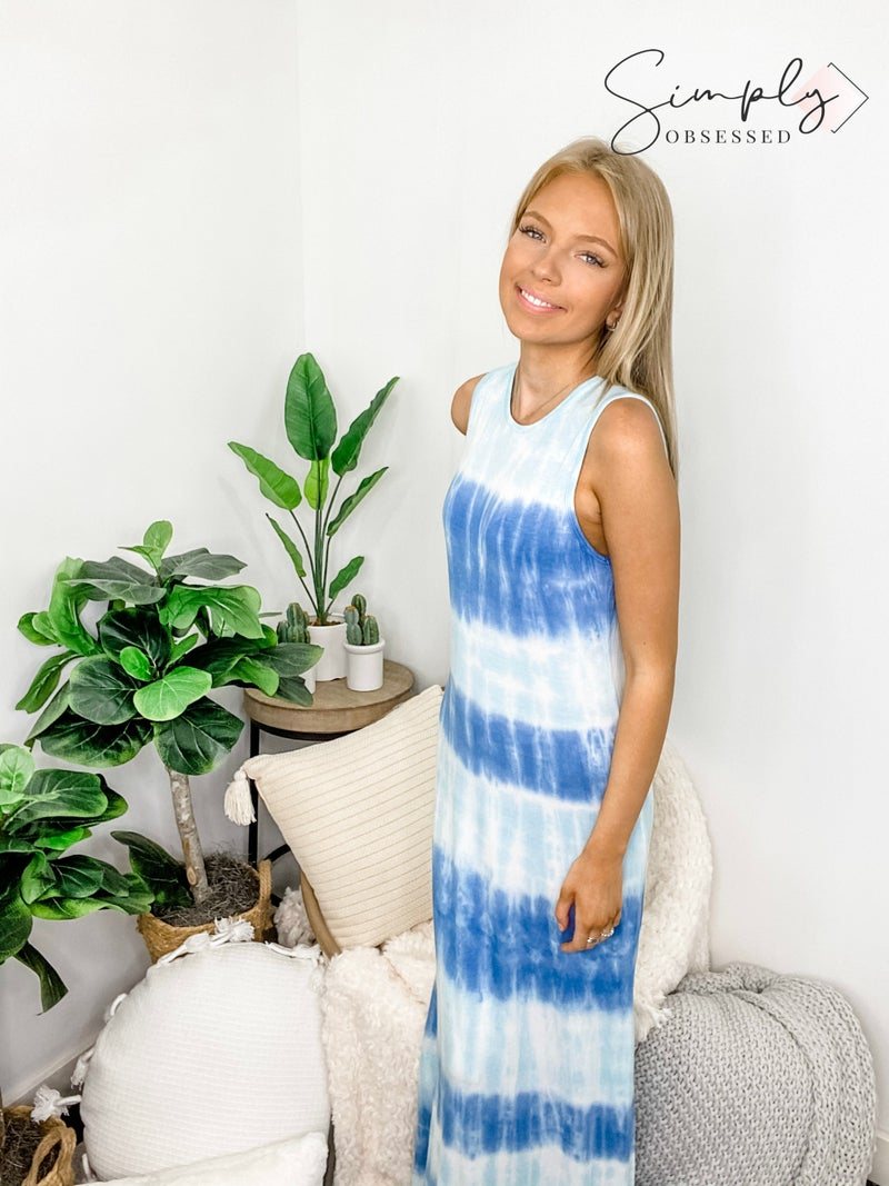 FSL Apparel - Sleeveless tie dye maxi dress with slit detail