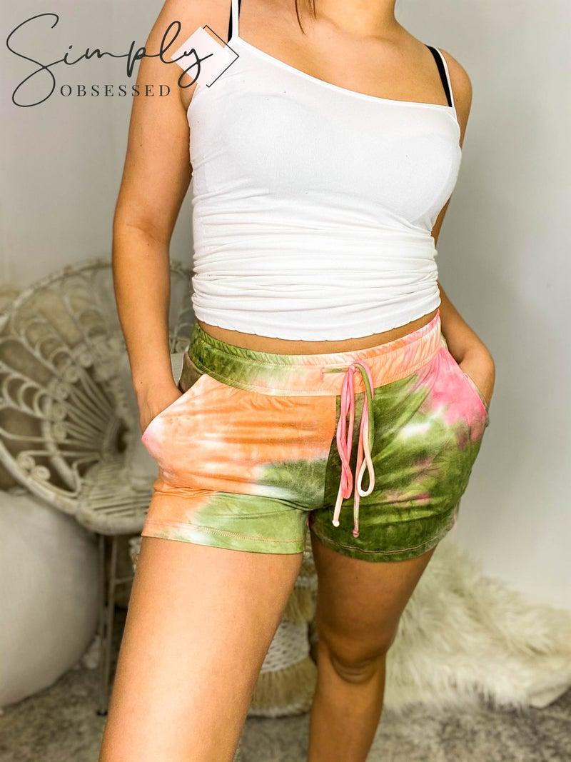 White Birch - Tie dye drawstring lounge wear shorts