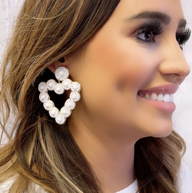 TJ White Beaded Heart earrings