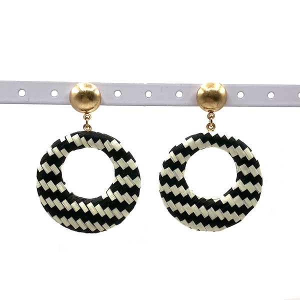 E R - Black and White Woven Hoop Earrings