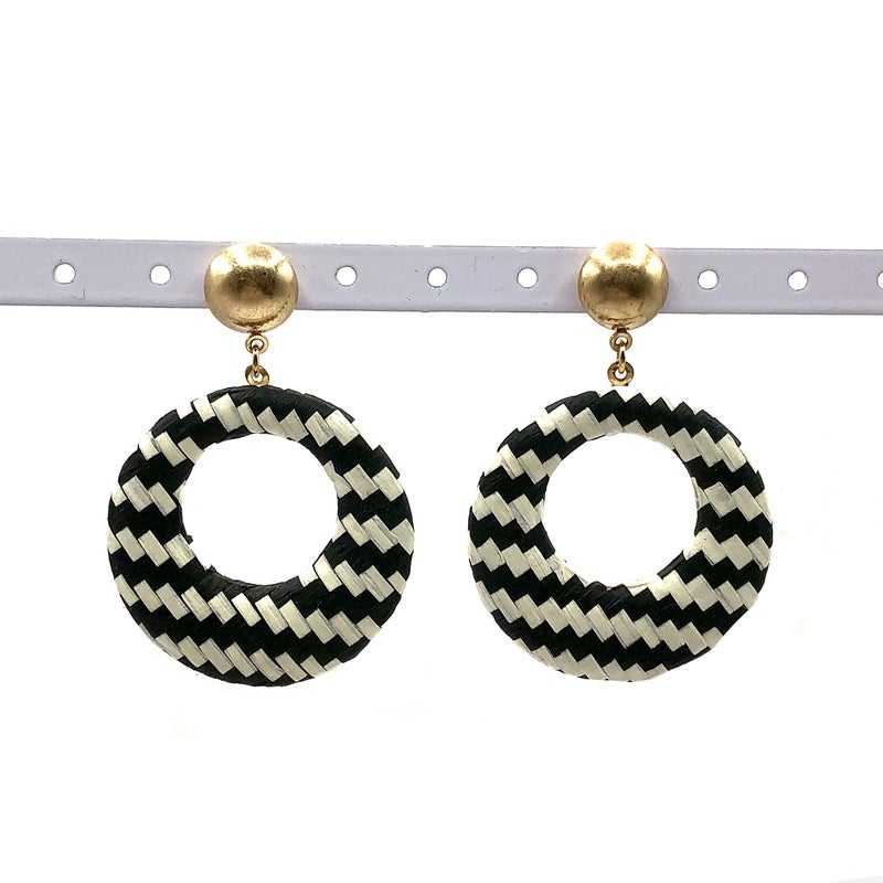 E R - Black and White Woven Hoop Earrings